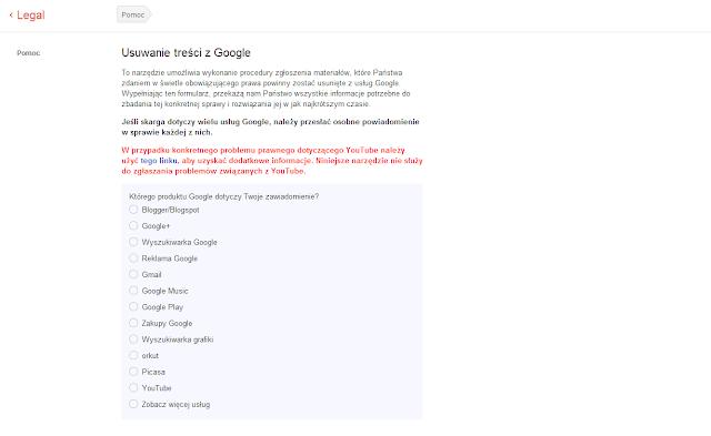 formularz Google do zgłaszania duplikatów