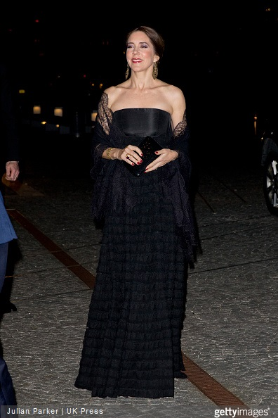 Crown Princess Mary of Denmark arrives at The Black Diamond in Copenhagen, where King Willem-Alexander, and Queen Maxima of the Netherlands host a return arrangement,