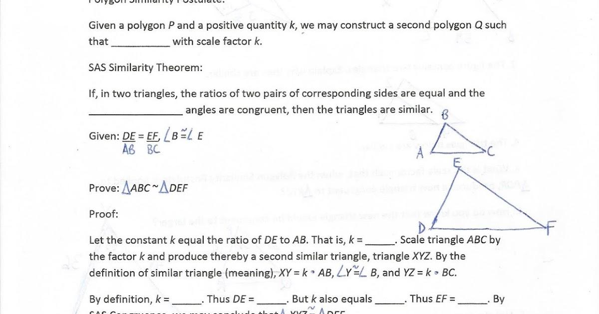 Geometry Common Core Style Lesson 12 9 The Sas Similarity Theorem