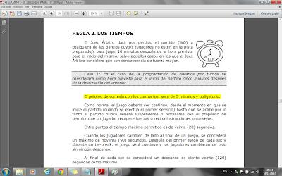 Apartado de la Regla 2. Los Tiempos, del Reglamento de Juego del Pádel F.I.P. 2008, donde especifica los 5 minutos destinados al peloteo.