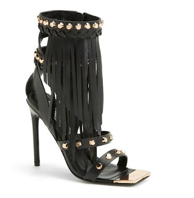 Ivy Kirzhner Black high heele sandals with fringe and gold hardware detail