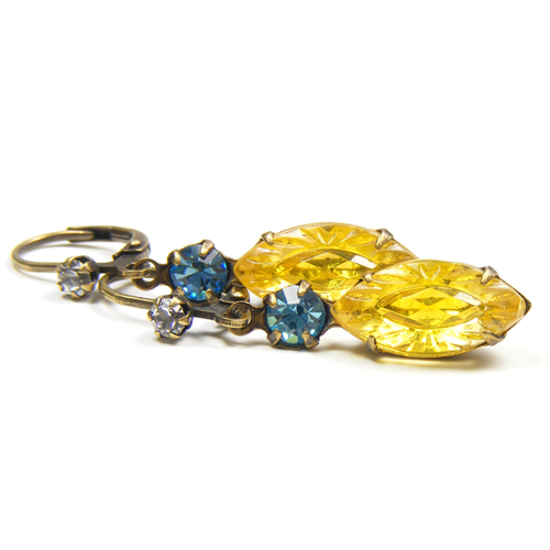 Petite Vintage Style Yellow Earrings by Blucha Jewels
