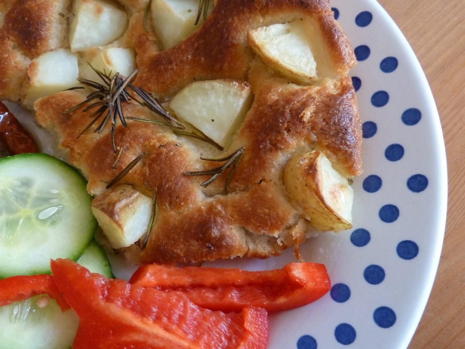 Home made potato, spelt and rosemary focaccia