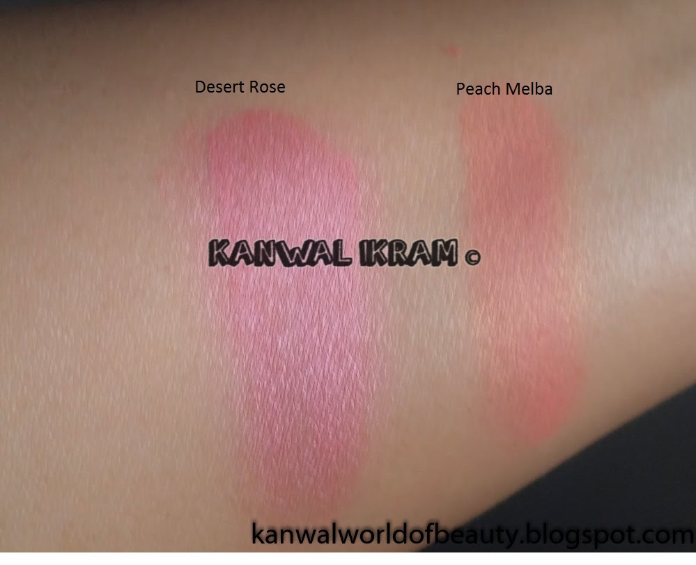 Luscious Cosmetics Blush Desert Rose and Peach Melba Swatches