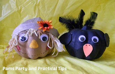 Make a Scarecrow and a crow pumpkin using dollar store pumpkins