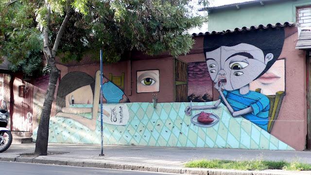 street art in santiago de chile barrio patronato arte callejero by piguan and bus