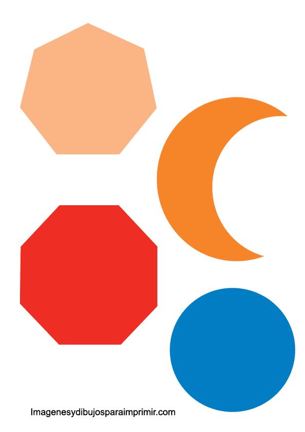 luna, circulo, octogono