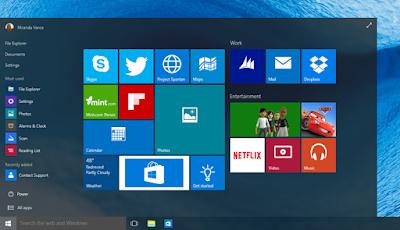 Tampilan Homepage dari Windows 10 Terbaru