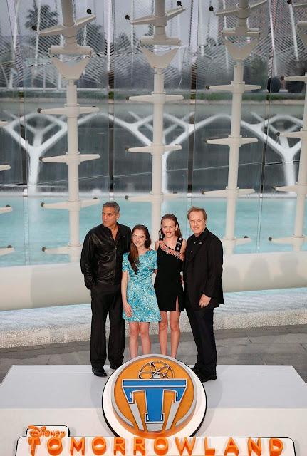 George Clooney, Raffey Cassidy, Britt Robertson and Brad Bird  - Premiere Tororrowland Valencia