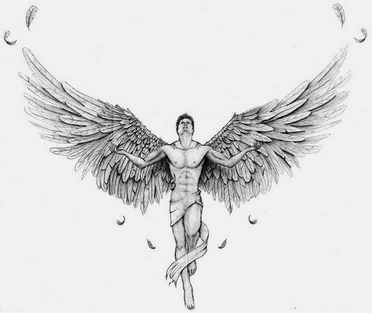 Angel with open wings tattoo stencil