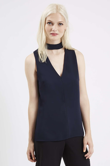 blue neck strap top
