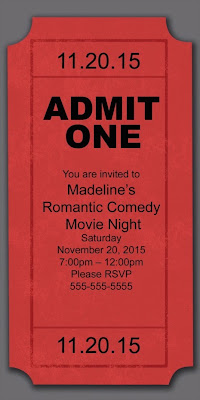 Admit One movie ticket invitation