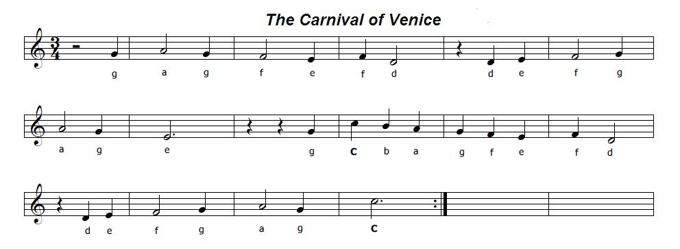 Famoso Musica e spartiti gratis per flauto dolce: Il Carnevale di Venezia FR27