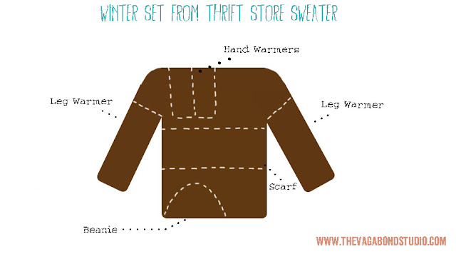 Upcycled winter wear, tutorial, The Vagabond Studio