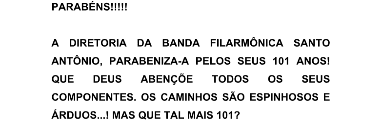 Parabéns Filarmônica Santo Antônio