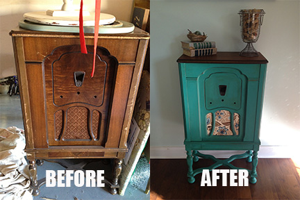 ... kids/work/home/life can take over, and the neglected radio cabinet sat  in my garage for nearly 6 months before I finally put some paint on her! - My Twig And Twine Nest: Vintage Radio Cabinet Transformation
