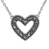 Sterling Silver Diamond Cut Heart Necklace Valentines Day Gift