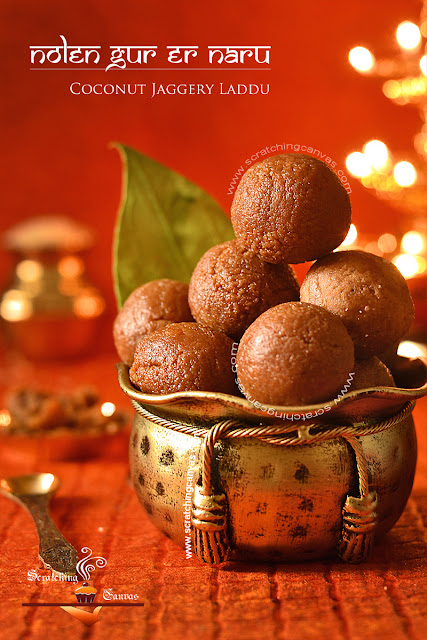Nolen Gurer Narkol Naru | Coconut Jaggery Truffles
