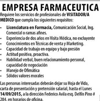 Empresa de Farmacia requiere Visitardor/a Médico