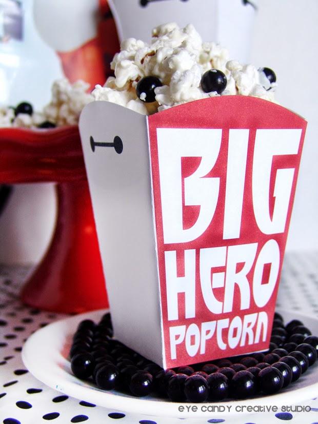 Big Hero popcorn, Sixlets, Baymax popcorn, movie night popcorn, disney