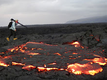 Hiking the active lava fields - respirator needed that day