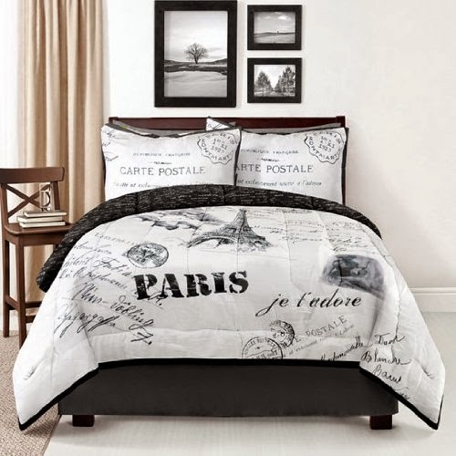Eiffel Tower 4 Piece Comforter Set - Queen
