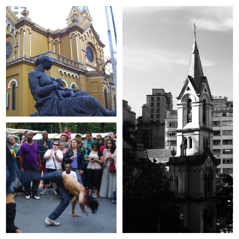 NS do Rosário dos Homens Pretos. Monumento a Mae Petra. Capoeira en Praça da República.