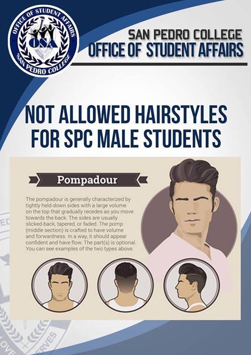 San Pedro College hairstyle for male students pompadour