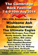 FM at Cambridge Rock Festival 9 August 2014 poster