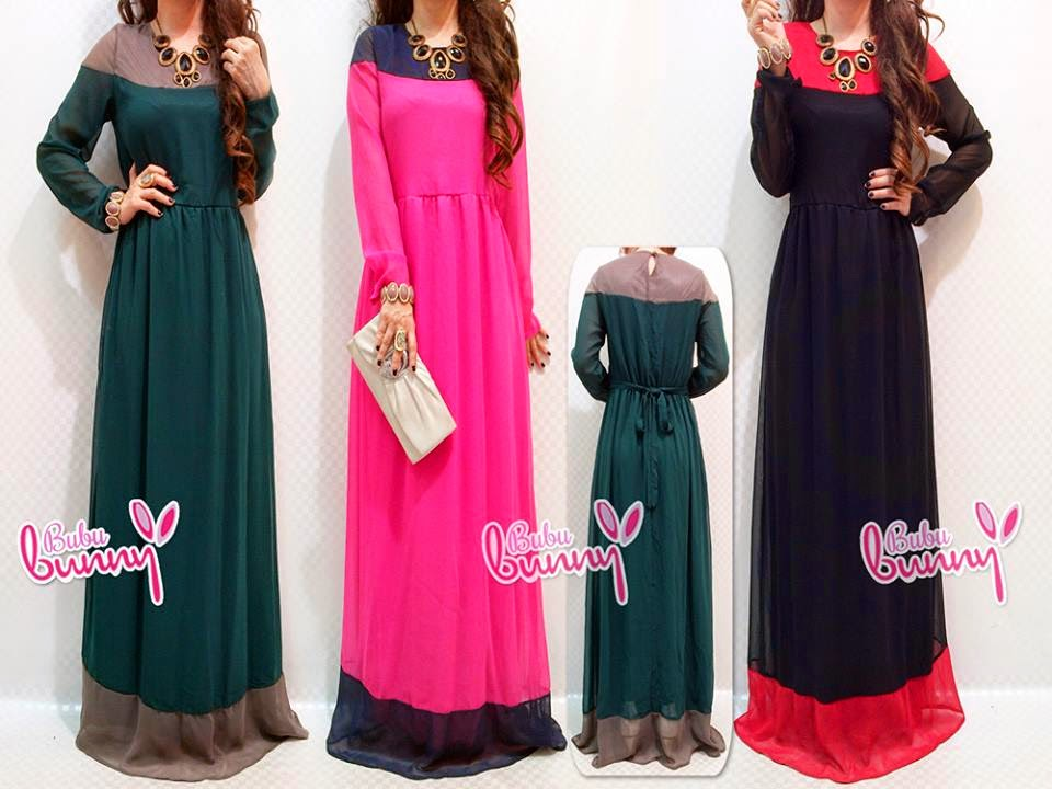 2 Tones Round Neck Jubah Dress with Ribbon