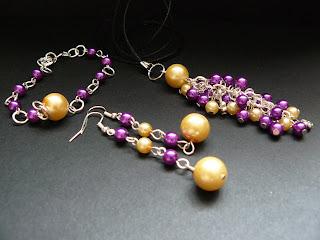 biżuteria z półfabrykatów - fioletowo-żółty komplet