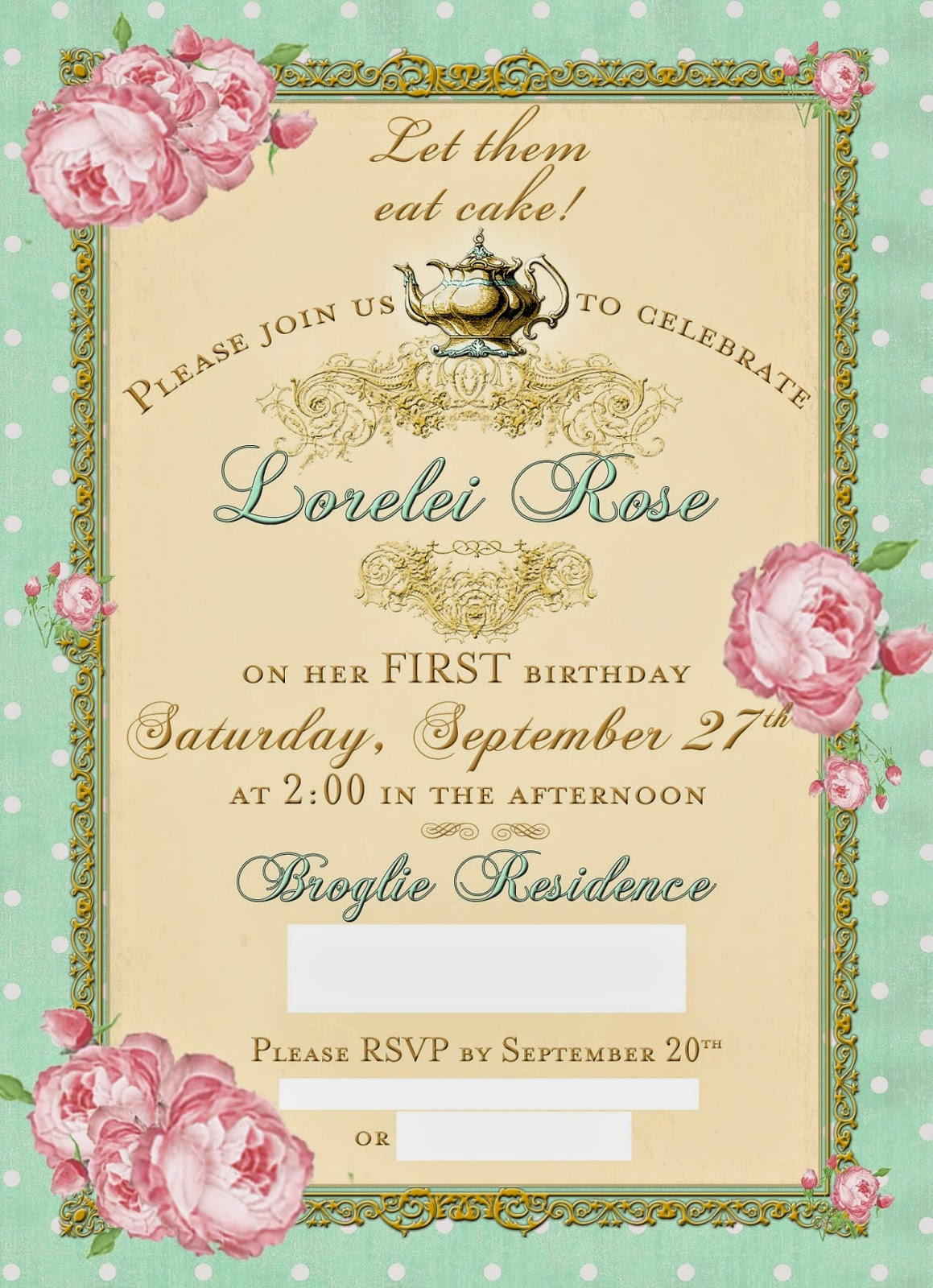 Huckleberry love tea party first birthday i found these adorable invites on etsy and based the colors and theme off the invite i love the mint pink and gold combination and i especially love the monicamarmolfo Image collections