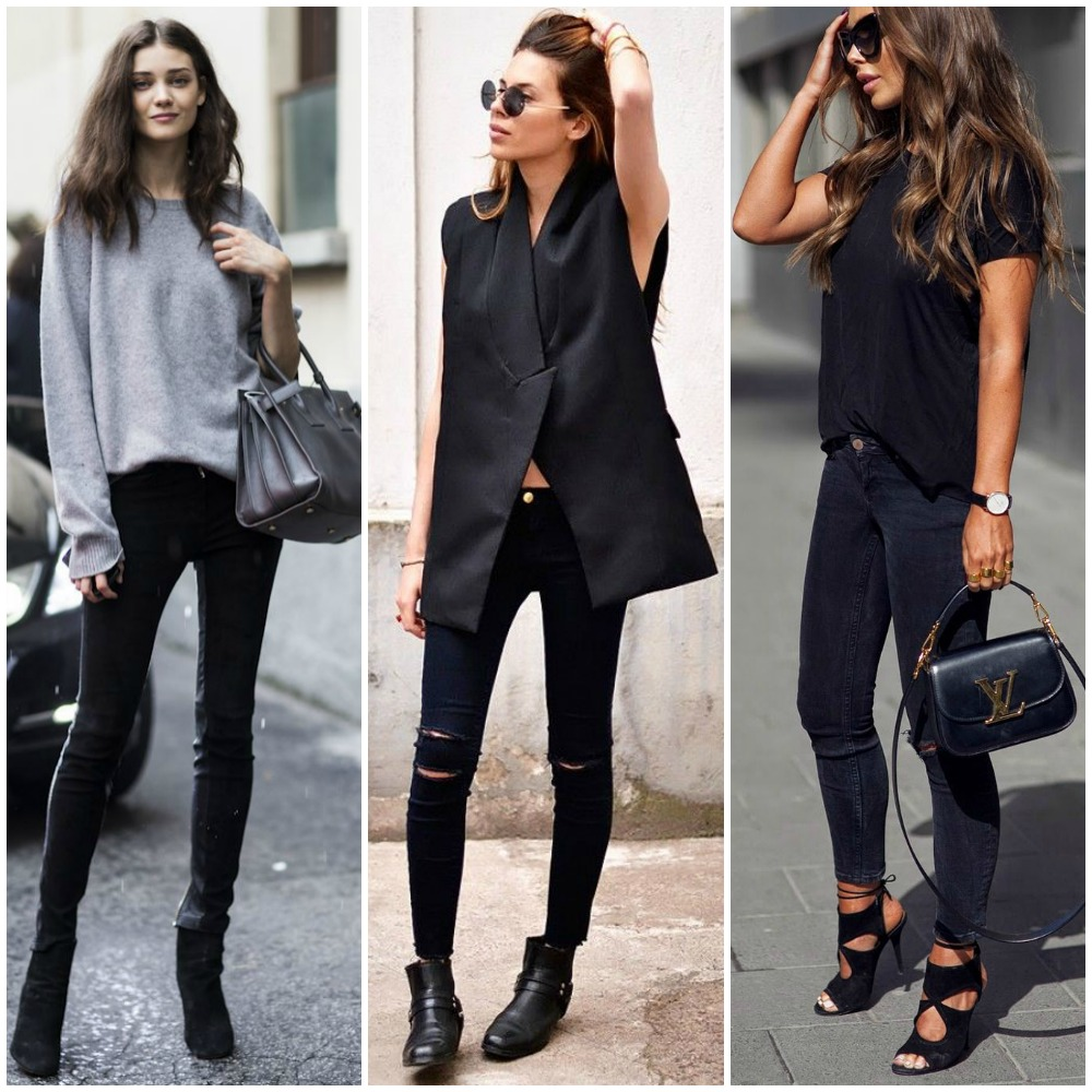 monochrome neutral outfit | ways to wear black skinny jeans | street style fashion blog