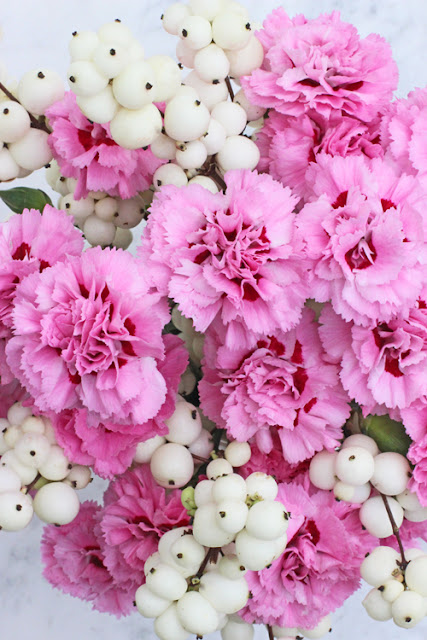 Pink Pinks and white snowberries