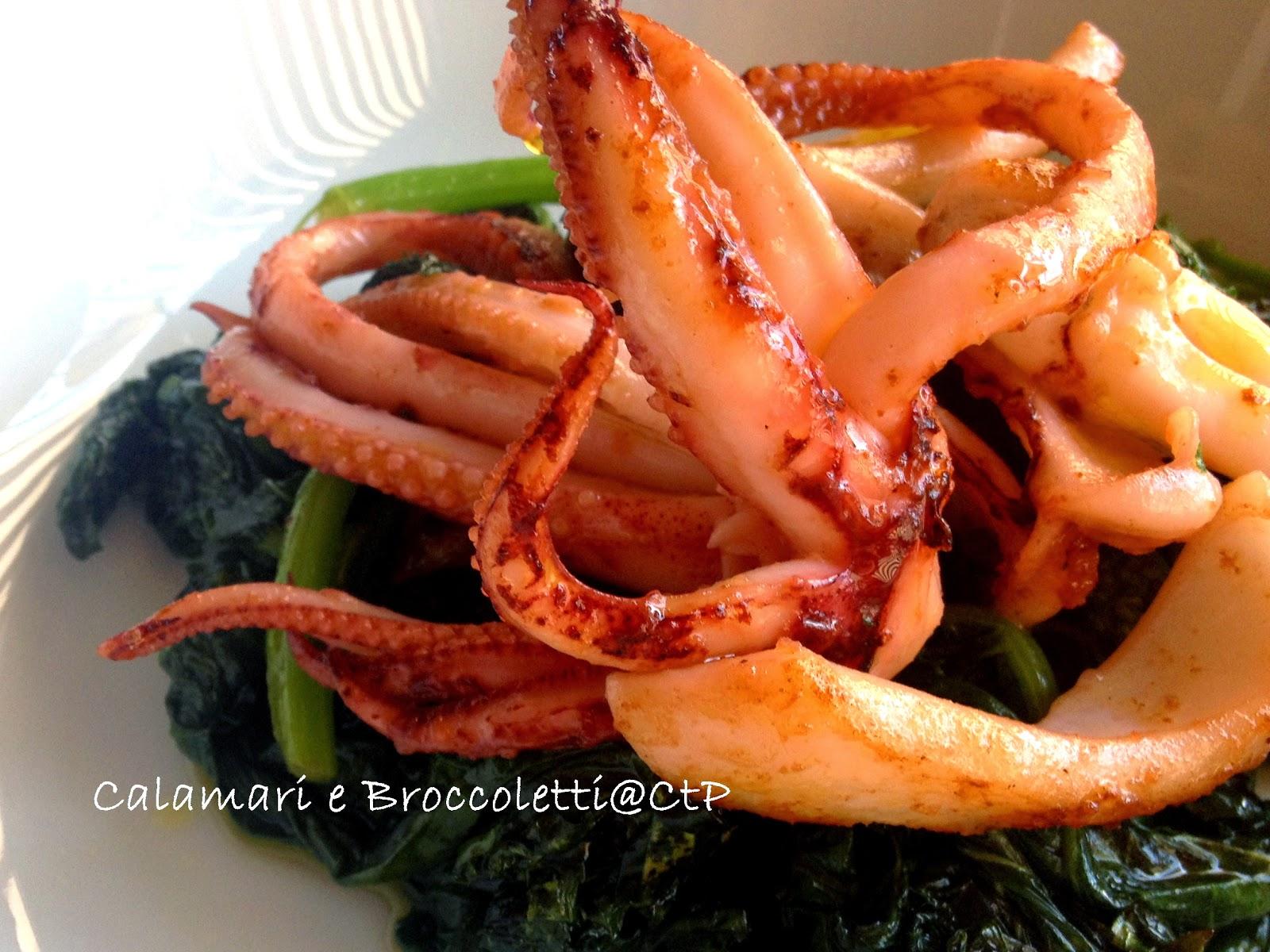 calamari broccoletti olio extra vergine e limone