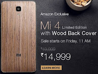 Flipkart :Mi 4 Limited Edition with Wood Back Cover (16 GB) at Rs.14,999 only