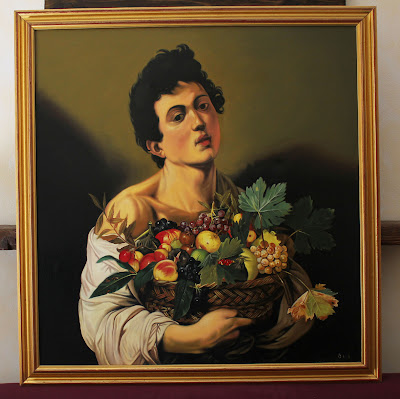 Boy with basket of fruit (Caravaggio) - oil painting reproduction by Marcello Barenghi