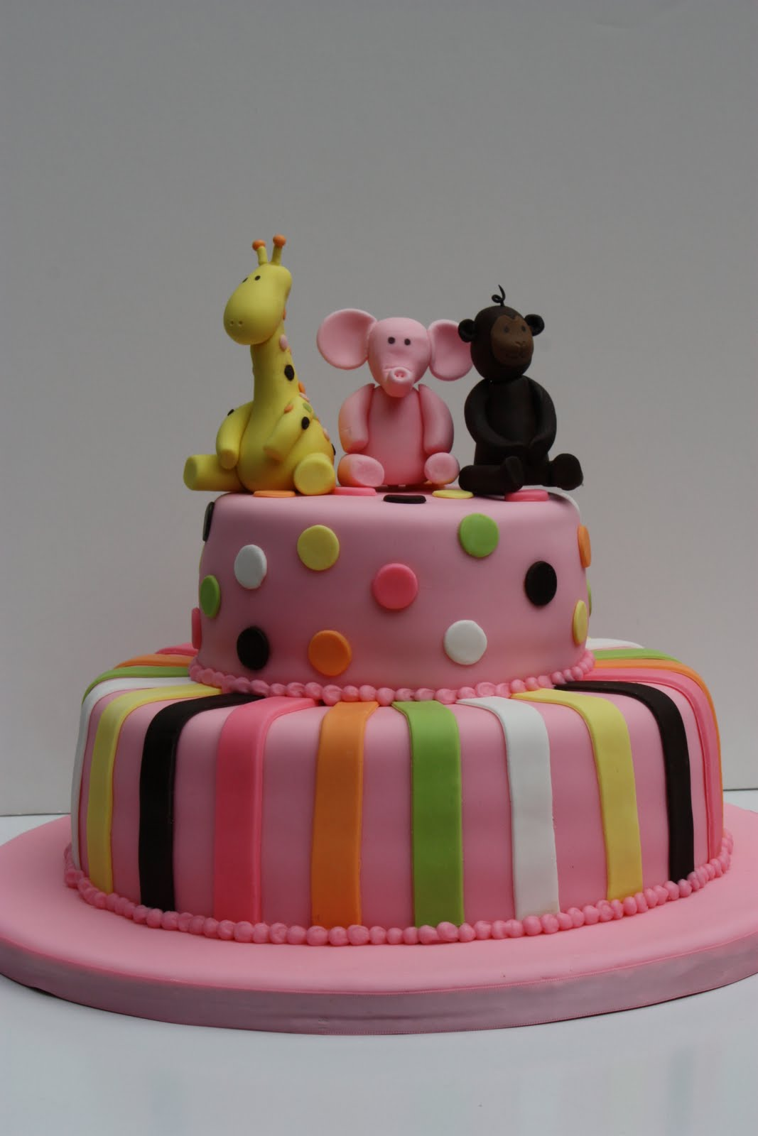 Whimsical by Design Pink Jungle Animals First Birthday Cake