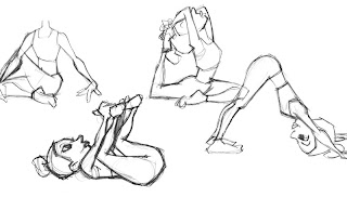 various yoga poses sketched
