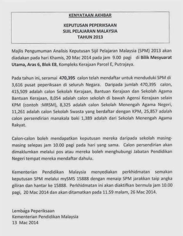 Myuniversiti Com Portal Maklumat Pendidikan Pengumuman Keputusan Spm 2013