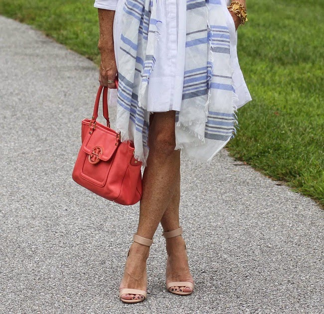 gap white shirtdress, loft blue stripe scarf, tory burch amanda bag, jcrew chunky heel sandals