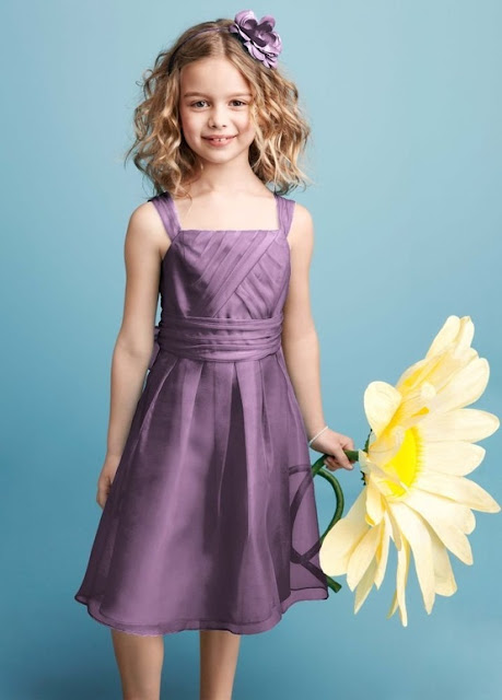 Flower Girl Dresses -  David's Bridal Bridesmaid Dresses Sleeveless Organza Dress with Pleating Style