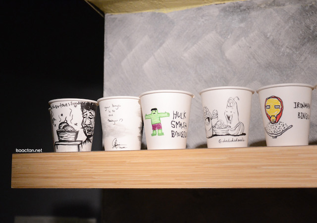 Interesting drawings on cups, by diners
