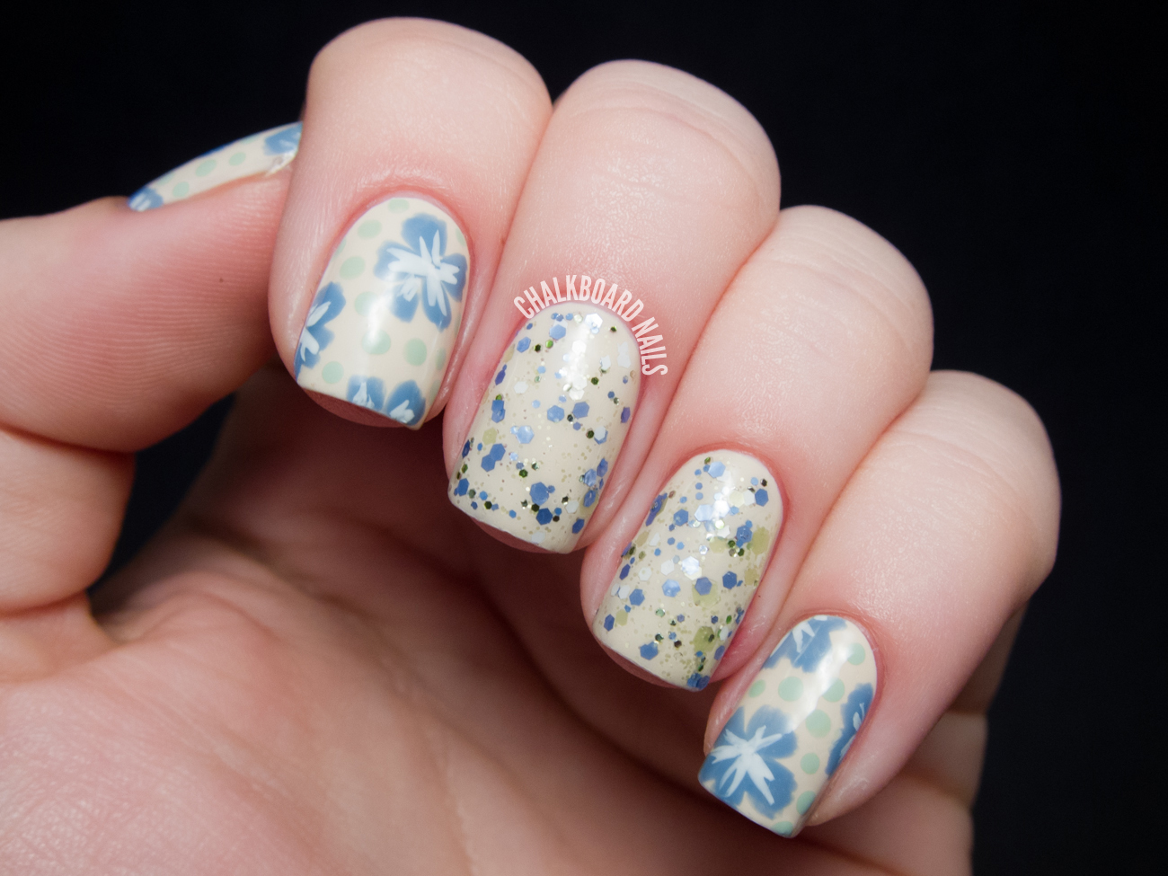 Vintage glitter floral with silly bees chickadees chalkboard in todays post i continue to play around with the technique of matching floral nail art to a glitter polish i first tried this in my candy floral and prinsesfo Choice Image