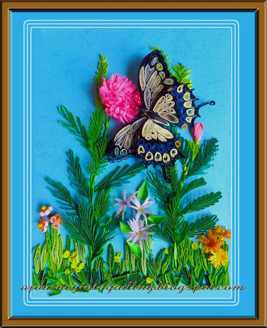 Paper Quilling Butterfly and Flowers