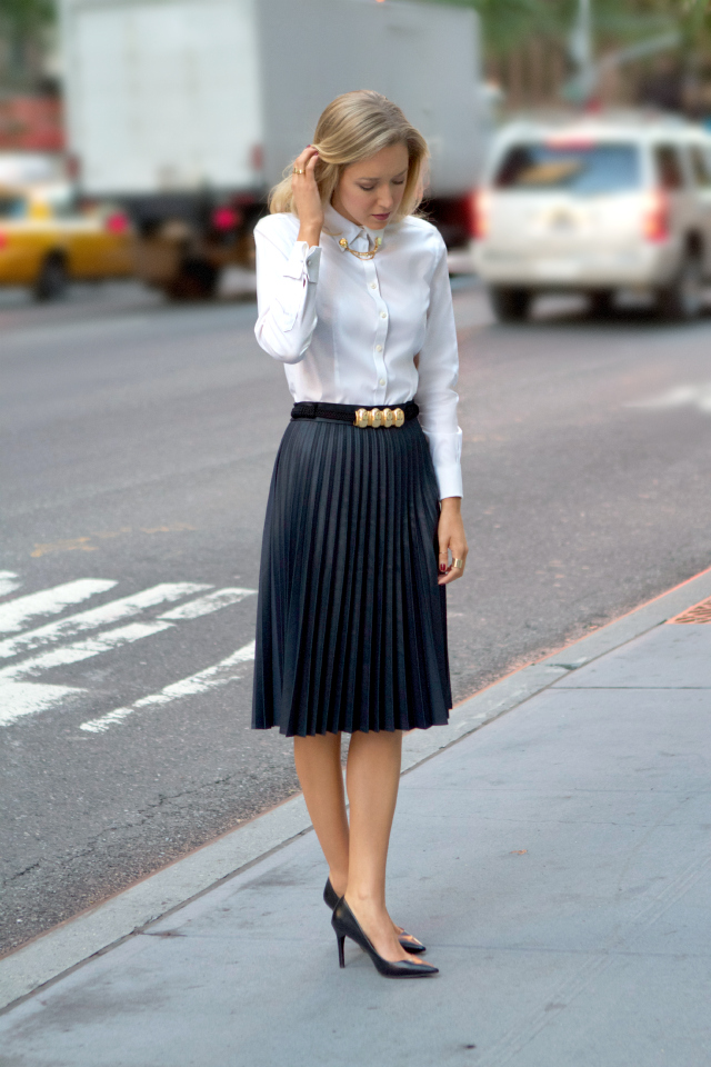 zara coated pleated midi skirt gold circle collar tips pins asos faux leather pleated skirt brooks brothers non iron stretch tailored oxford white shirt ralph lauren adena pointed black leather pumps heels gorjana stacking rings essie berry naughty polish vintage belt street style fall fashion trends 2013 new york city nyc the classy cubicle fashion blog for young professional women females woman girls 20s 30s 40s appropriate work wear office attire outfits professional corporate suit dos and donts crimes top ten day to night transition interview preppy office style dress for success step up lean in suit up
