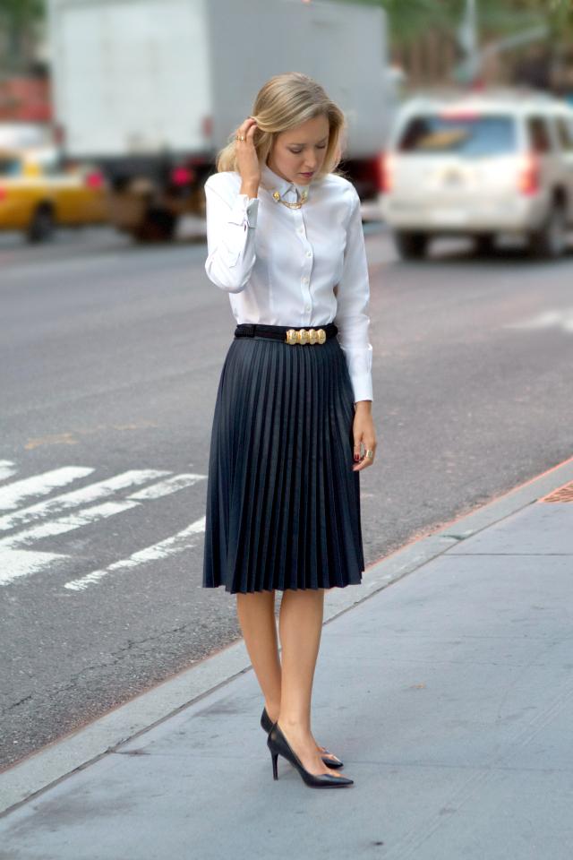 coated pleats and collar tips memorandum nyc fashion
