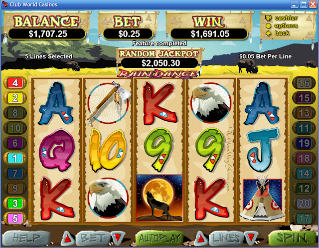 $1,691 Won on Rain Dance Video Slot Machine in free Spin Feature