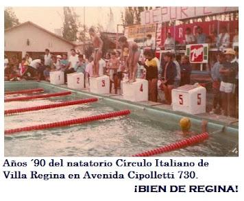 Años ´90 del natatorio Círculo Italiano de Villa Regina en Avenida Cipolletti 730.