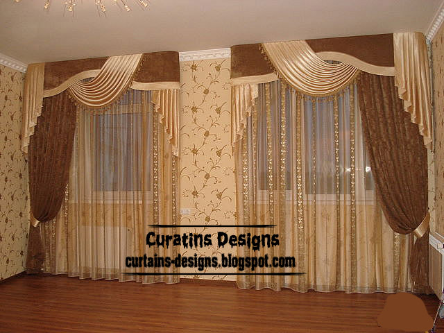 Contemporary Windows Curtain Design, Sheer Curtain Set, Brown Velvet Curtain